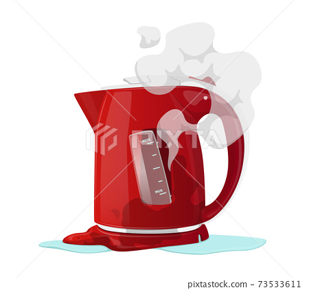 Broken Electric Kettle Isolated on White Background. Destroyed Appliance with Steam, Poured Water and Melted Plastic 73533611