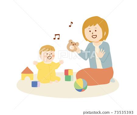 一個女人和一個嬰兒一起玩的插圖 73535393