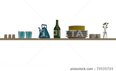 在廚房/餐飲用品貨架上排列的圖像切口 73535733