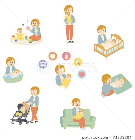 一個女人照顧她的孩子的插圖 73535804