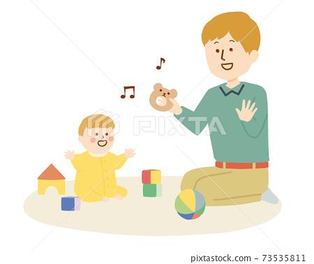 一個男人和一個嬰兒一起玩的插圖 73535811