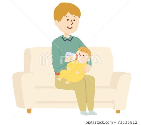 一個人餵嬰兒牛奶的插圖 73535812