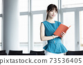 A young lady with a notebook 73536405