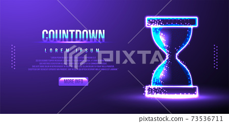 sand glass, countdown. low poly wireframe. vector illustration 73536711