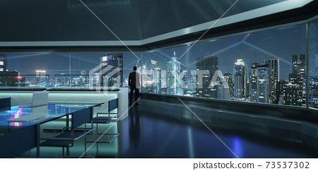 3d rendering businessman stand in office 73537302