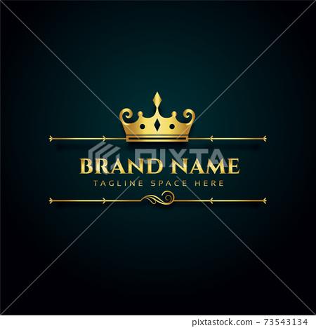 luxury brand logo with golden crown design 73543134