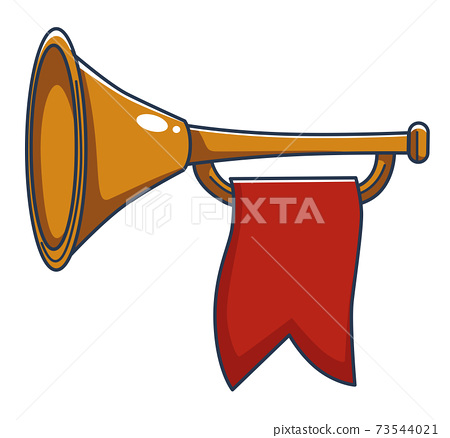 Trumpet with red banner, royal instrument vector 73544021
