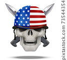 Skull with knife USA label 73544354