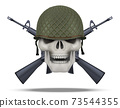 Skull with rifles USA label 73544355