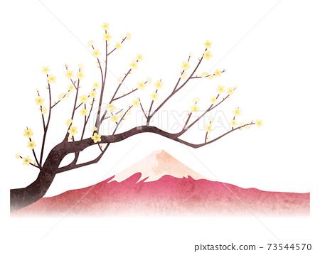 水彩風格白梅花和富士山集 73544570
