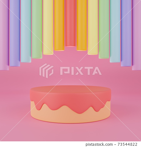 3d rendering empty cake podium with rainbow color cylinders on pink background. 73544822
