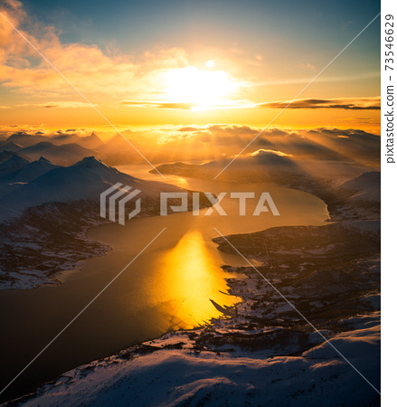 Aerial view of mountain landscape in winter season, Norway, Europe 73546629