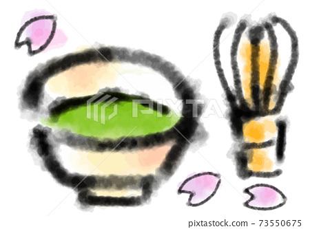 녹차와 茶筅의 수묵화 그림 소재 73550675