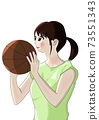 Girl holding basketball and just before shooting 73551343