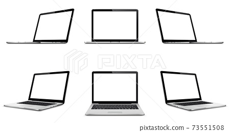 Laptop with blank empty screen on white background. Perspective, top and front laptop view with blank screen. 73551508
