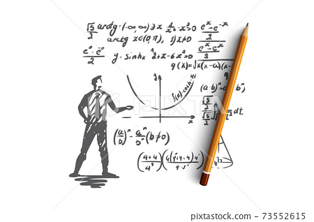 Mathematics, education, science, school, study concept. Hand drawn isolated vector. 73552615