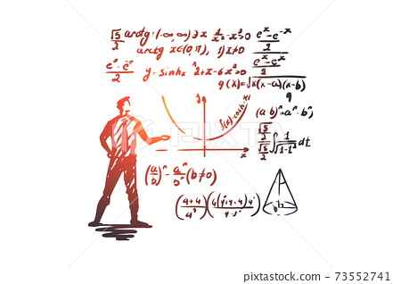 Mathematics, education, science, school, study concept. Hand drawn isolated vector. 73552741