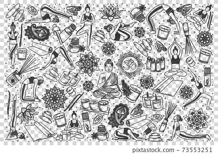 Yoga doodle set 73553251