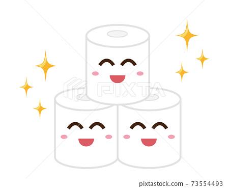 矢量圖的廁紙廁所用品字符 73554493