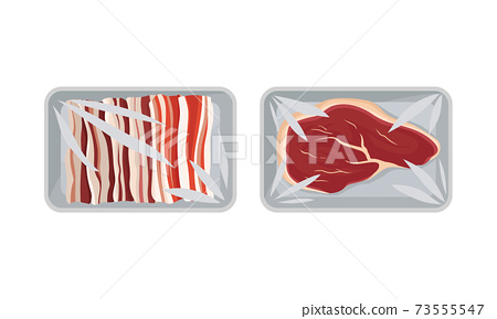 Sliced Lard and Beef Slab in Plastic Serving Tray Vector Set 73555547