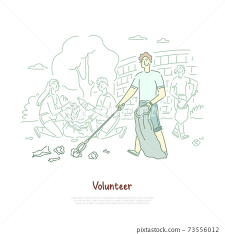 Young man with disposal bag cleaning trash, environment protection, volunteering, waste reuse, recycling banner 73556012