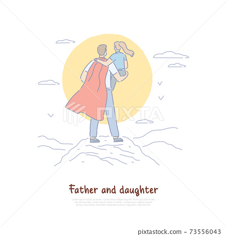 Super dad holding kid in arms back view, young man in cloak with child, parent superhero, happy fatherhood banner 73556043