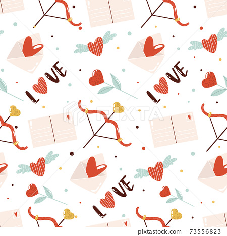 Vector seamless pattern with cute element on white background for St. Valentines Day. 73556823