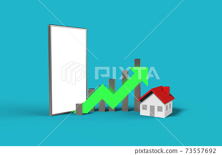 Growth real estate concept. Business graph with house  and blank screen mobile phone. 3D Illustration. 73557692