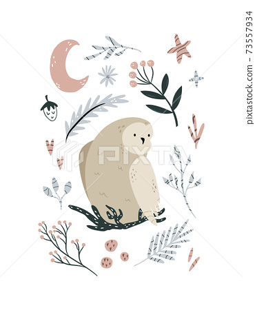 Creative poster with an owl sitting in the nest and forest elements. 73557934