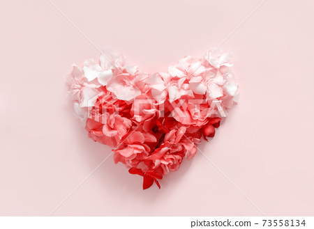 Heart made of pink flowers 73558134