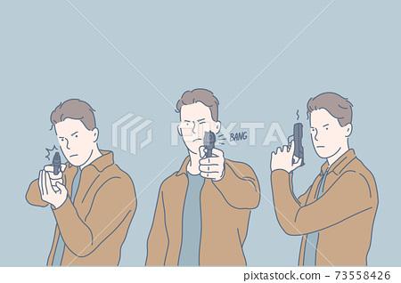 Selfdefense, criminal, shot, set concept 73558426