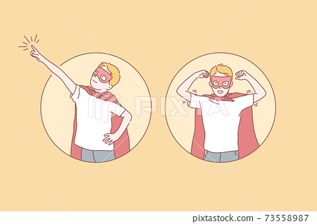 Boy, superhero, goal achievement, dream set concept 73558987