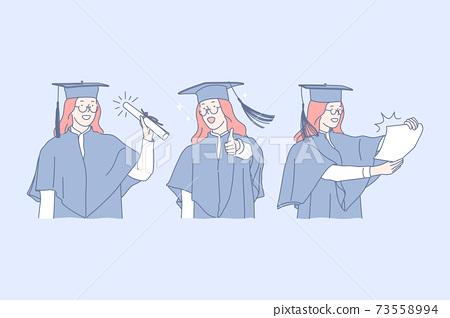 Education, graduation , success, diploma set concept 73558994