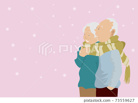 The old man and the old woman remember long love in the snow.Vector image 73559627
