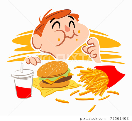 A little boy eating fast food happily 73561408