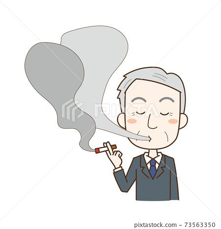 中年男子抽著煙 73563350