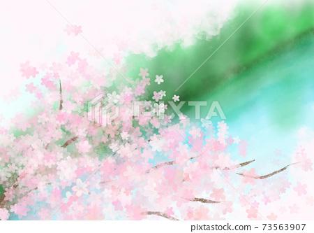 從俯瞰水邊的地方可以看到盛開的春天的櫻花 73563907