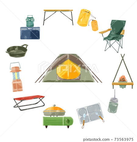 露營裝備手寫水彩風格插畫 73563975