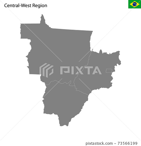 High Quality map Central-West region of Brazil, with borders 73566199