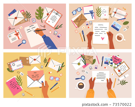Hands with postcards and letters. Envelopes, postcards and letters top view, girls write, send and read letter. Mail sending hand-drawn vector illustration set 73570022