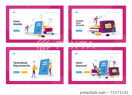 People Read Book with Instructions User Manual Landing Page Template Set. Characters Discussing Content of Guide 73571141
