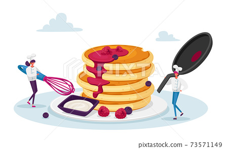 Tiny Male and Female Characters in Chef Toques with Huge Whisk and Cooking Pan Cook Pancakes. Meal for Family, Culinary 73571149