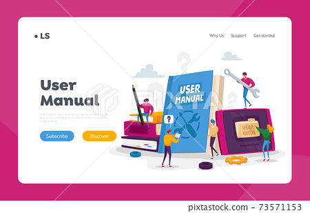 People Read Book with Instructions for Equipment. User Manual Landing Page Template. Characters with Guide Document 73571153