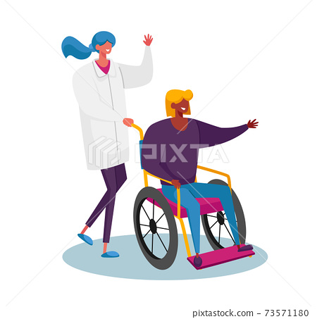 Disabled Female Riding Wheelchair with Nurse or Doctor Therapist Assistance. Woman Patient in Traumatology Hospital 73571180