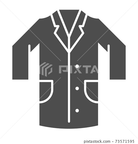 Medical gown solid icon, clothes concept, laboratory uniform sign on white background, hospital staff and doctors costume icon in glyph style for mobile concept web design. Vector graphics. 73571595