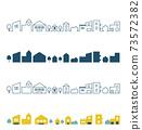 Cityscape Winter_Residential area_Line art silhouette 73572382