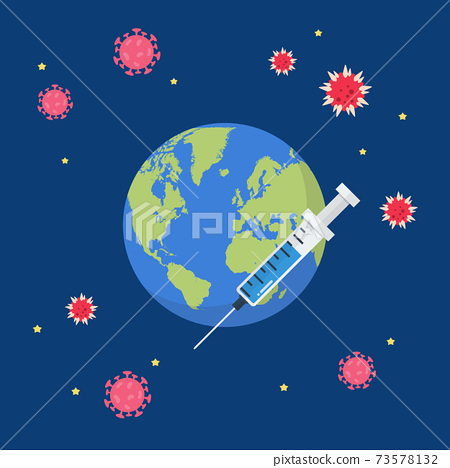 Planet earth with syringe 73578132