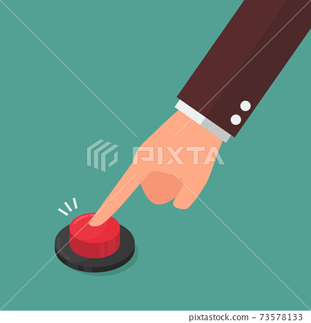 Hand pressing the red button 73578133