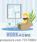 A man working at home sitting on the sofa, cartoon character, Vector 10 73578862
