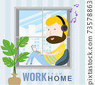 A man working at home on a laptop listening to music on the window. cartoon character, Vector 10 73578863